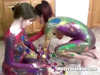Amateur body painting girls