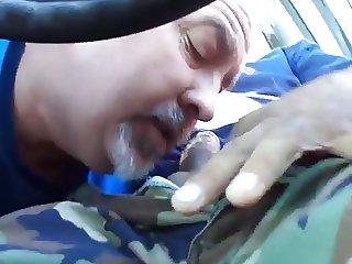 Sucking in his car