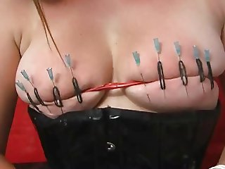 Needle play and pumped clitoris