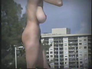 OMG Huge tits on beach