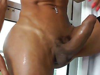 Shemale Sabrina strokes her big hard tool