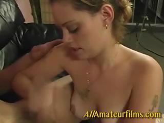 Rachel giving a hard handjob
