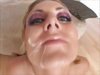 Horny girl swallow cum