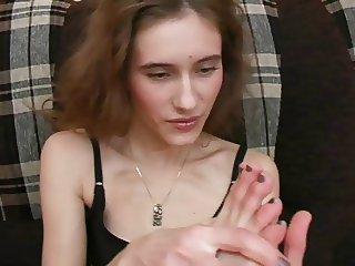 girl licking her own feet 1