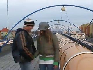 Couple fucks in public Train Station