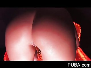 Orange chair solo masturbation