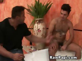 Hairy Gay Bareback on the Pool