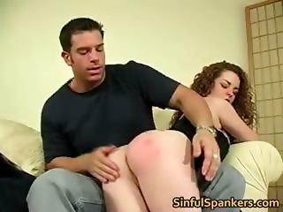 Curly brunette babe gets bent over knees part5