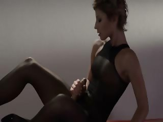 Hot coed in pantyhose masturbating