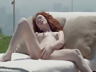cute redhead opening vagina outside