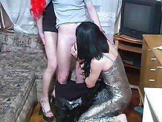 A pair of crossdressers seduce a guy part 1 of 5