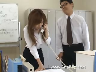 Asian secretary from Tokyo with bum milk