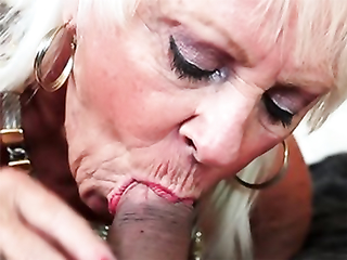 Granny likes a good deepthroat swallow as she hasn