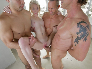 Tiny blonde very first time gangbang