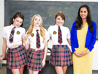 Hot mistress taught a good lesson of a tough lesbian love to her three schoolgirls