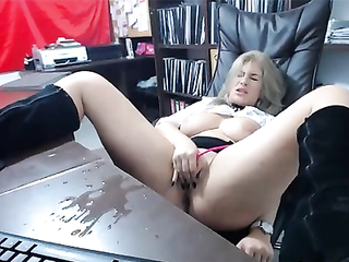 Blistering secretary at work squirted on table achieving orgasmic pleasure