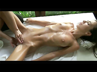 Erotic massage porn video with slim brunette in perfect shape